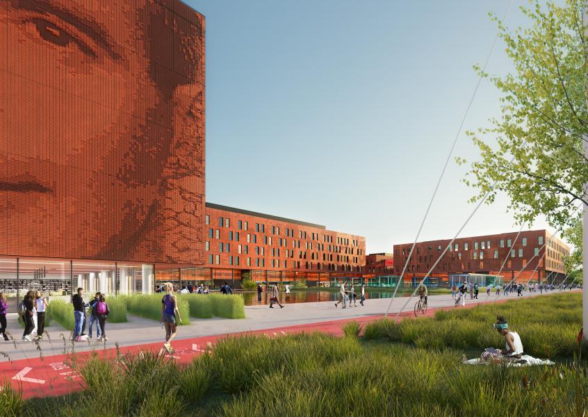 Il Campus della Statale a Mind: ingresso (Rendering Studio Carlo Ratti e Associati)