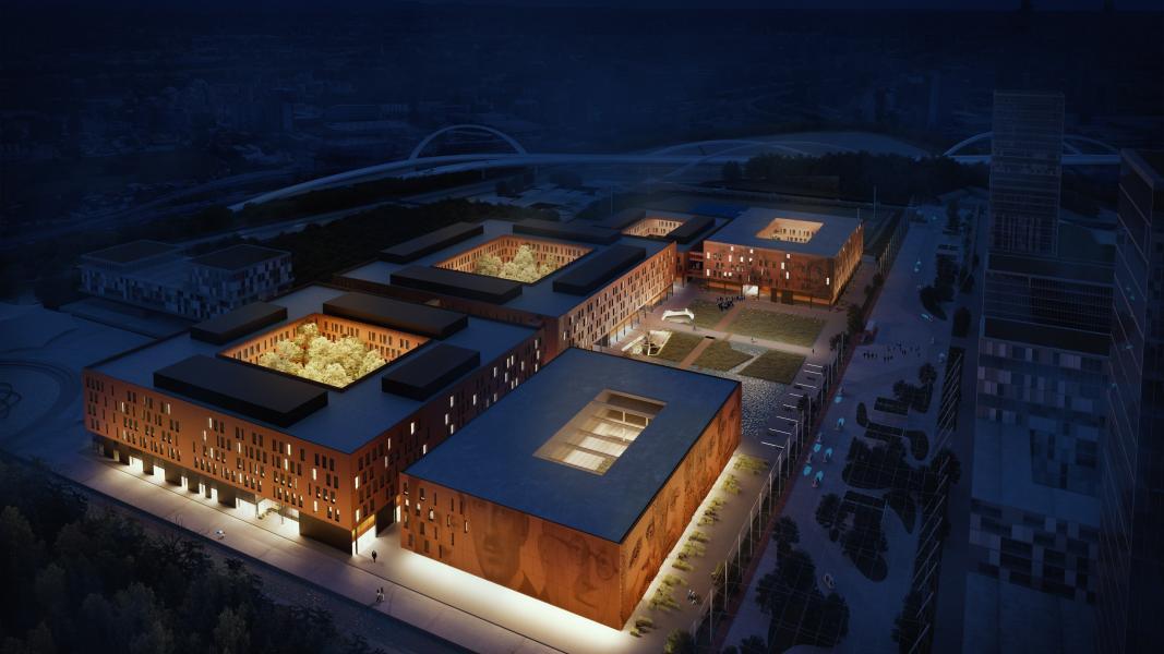 Il Campus della Statale a Mind: vista dall'alto (Rendering Studio Carlo Ratti e Associati)